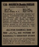 1949 Leaf #128  Warren  Buddy  Rosar  Back Thumbnail