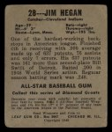 1949 Leaf #28   Jim Hegan Back Thumbnail
