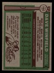 1976 Topps #160  Dave Winfield  Back Thumbnail