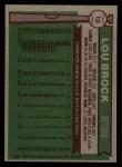 1976 Topps #10  Lou Brock  Back Thumbnail