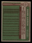 1976 Topps #550   Hank Aaron Back Thumbnail