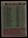 1976 Topps #17  Yankees Team Checklist  -  Billy Martin Back Thumbnail