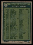 1977 Topps #621  Tigers Team Checklist  -  Ralph Houk Back Thumbnail