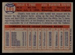 1957 Topps #101   Chuck Stobbs Back Thumbnail