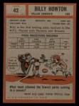 1962 Topps #42  Bill Howton  Back Thumbnail