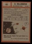 1962 Topps #85   Danny Villanueva Back Thumbnail