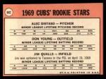 1969 Topps #602 COR  -  Alec Distaso / Don Young / Jim Qualls Cubs Rookies Back Thumbnail