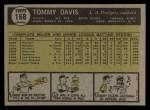 1961 Topps #168   Tommy Davis Back Thumbnail