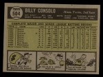 1961 Topps #504   Billy Consolo Back Thumbnail