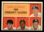 1961 Topps #50   -  Jim Bunning / Frank Lary / Pedro Ramos / Early Wynn AL Strikeout Leaders Front Thumbnail