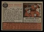 1962 Topps #131 A  Pete Richert Back Thumbnail
