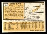 1963 Topps #117 ^COR^ Jacke Davis  Back Thumbnail