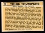 1963 Topps #392  Tribe Thumpers    -  Johnny Romano / Tito Francona Back Thumbnail