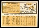 1963 Topps #45   Bob Aspromonte Back Thumbnail