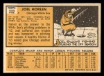 1963 Topps #332   Joel Horlen Back Thumbnail