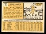 1963 Topps #74  Denver Lemaster  Back Thumbnail