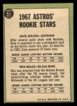 1967 Topps #51   Astros Rookie Stars  -  Dave Adlesh / Wes Bales Back Thumbnail