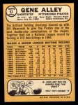 1968 Topps #53   Gene Alley Back Thumbnail