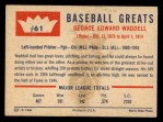1960 Fleer #61   Rube Waddell Back Thumbnail