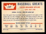 1960 Fleer #27   Luke Appling Back Thumbnail