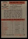 1956 Topps #40  Eagles Team  Back Thumbnail