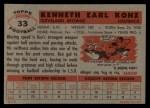1956 Topps #33  Ken Konz  Back Thumbnail