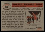 1956 Topps #57   Don Colo Back Thumbnail