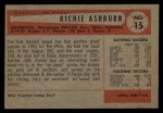 1954 Bowman #15  Richie Ashburn  Back Thumbnail