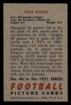 1951 Bowman #46  Pete Pihos  Back Thumbnail