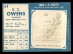 1961 Topps #61   Owens  Back Thumbnail