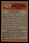 1955 Bowman #3   John Olszewski Back Thumbnail