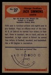 1955 Bowman #27   Jack Simmons Back Thumbnail