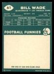 1960 Topps #61   Bill Wade Back Thumbnail