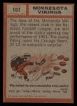 1962 Topps #101   Vikings Team Back Thumbnail