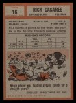 1962 Topps #16   Rick Casares Back Thumbnail