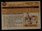 1960 Topps #182  Glen Hobbie  Back Thumbnail