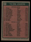 1975 Topps #311  ERA Leaders  -  Catfish Hunter / Buzz Capra Back Thumbnail