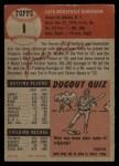 1953 Topps #1   Jackie Robinson Back Thumbnail