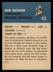 1962 Fleer #43   Bob Hudson Back Thumbnail