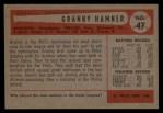 1954 Bowman #47 COR  Granny Hamner Back Thumbnail