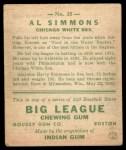 1933 Goudey #35   Al Simmons Back Thumbnail