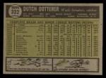 1961 Topps #332  Dutch Dotterer  Back Thumbnail