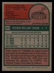 1975 Topps #241   Dick Tidrow Back Thumbnail