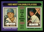 1975 Topps #190   -  Bobby Shantz / Hank Sauer 1952 MVPs Front Thumbnail