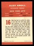 1963 Fleer #16   Alex Kroll Back Thumbnail