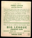 1933 Goudey #179   Fred Leach Back Thumbnail