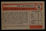 1954 Bowman #28 COR Jim Greengrass  Back Thumbnail