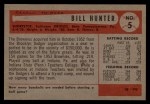 1954 Bowman #5   Billy Hunter Back Thumbnail