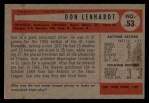 1954 Bowman #53 ALL Don Lenhardt  Back Thumbnail