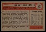 1954 Bowman #29   Johnny Klippstein Back Thumbnail